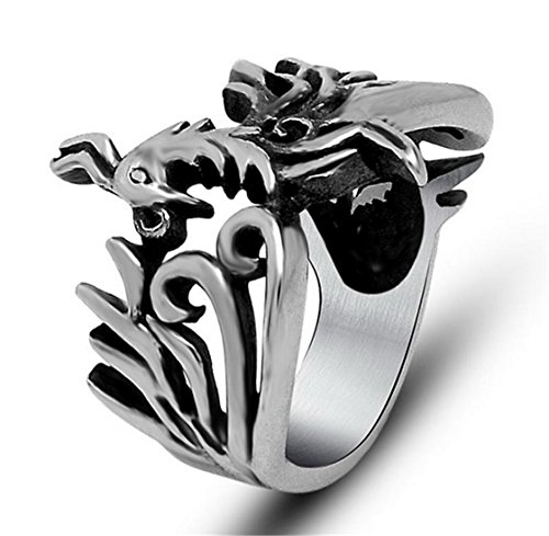 PSRINGS Punk Stainless Steel Mayan Phoenix Bird Ring Expendables Skull 316L Stainless Steel Ring Birthday 6.0