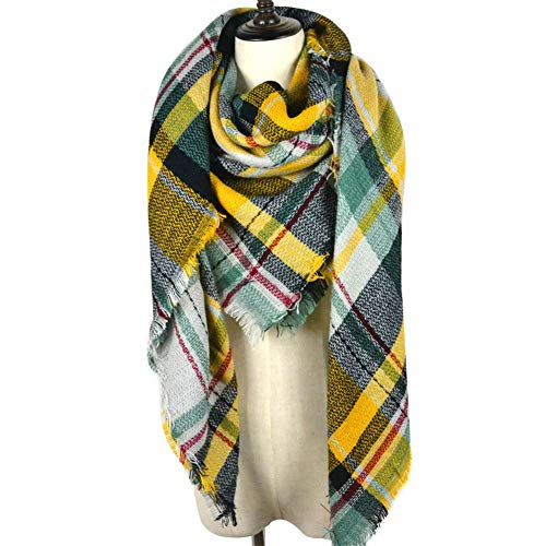 Dora Bridal Lady Women Blanket Oversized Tartan Scarf Wrap Shawl Plaid Cozy Checked Pashmina (One Size, Yellow)