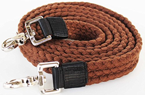 PRORIDER Roping Knotted Horse Tack Western Barrel Reins Cotton Braided Brown 60749