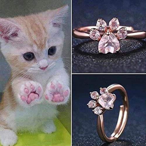 Toporchid Cute Bear Paw Cat Claw Opening Adjustable Ring Rose Gold Rings for Women Romantic Wedding Pink Crystal CZ Love Gifts Jewelry