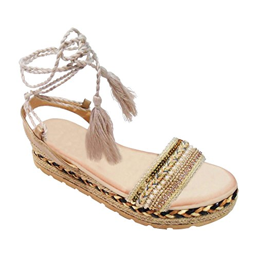 Clearance Sale Cute Beige Anna Gladiator Plain Cloth Fringe Embellished Fashion Flat Beaded Espadrille Caged Colorful Vegan Shoe Back to School Sandal Sandale 2017 for Women Teen Girl (Size 7, (Shoes For Back To School)