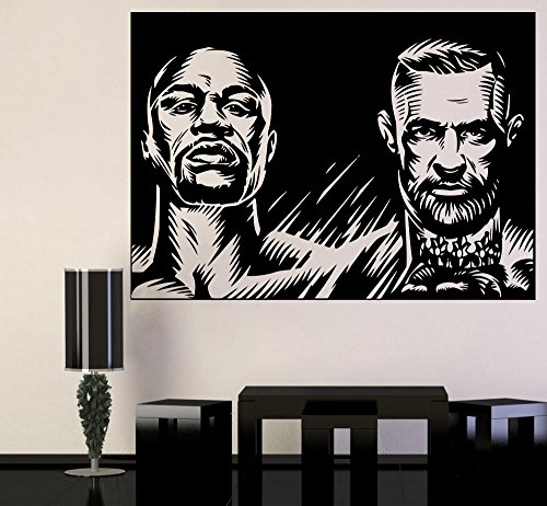 Champion Fight Wall Poster Champions UFC vs Boxing Vinyl Sticker Conor McGregor vs Floyd Mayweather Jr. Wall Vinyl Decal UFC Boxing Wall Mural Home Interior Decor Livingroom Art Bedroom Design cmfm2 (Boxing Floyd Mayweather Jr Vs Conor Mcgregor)