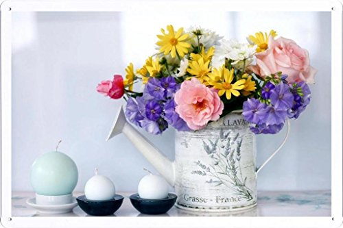 Flower Tin Sign Rose Chrysanthemum Petunia Flowers Bouquet Watering Can Candles 47914 by Waller's Decor (7.8