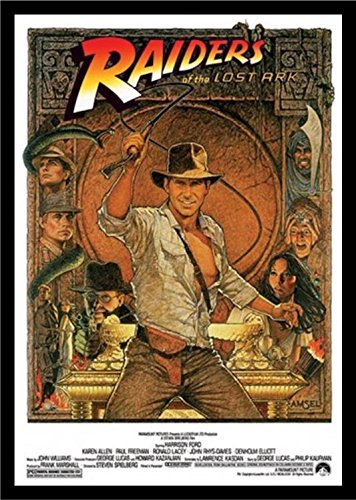 Buyartforless IF IF PW 50109 36x24 1.25 Black Plexi Framed Indiana Jones-Raiders of The Lost Ark 1982-Cracking The Whip Movie Art Print Poster Harrison Ford Karen Allen Action Adventure ()