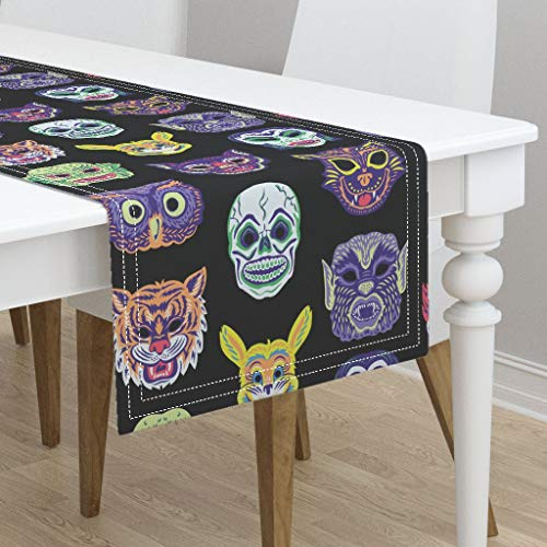 Table Runner - Scary Masks Clown Vampire Cat Witch Owl Halloween Vintage Retro Masks Creepy by Pinkowlet - Cotton Sateen Table Runner 16 x 108