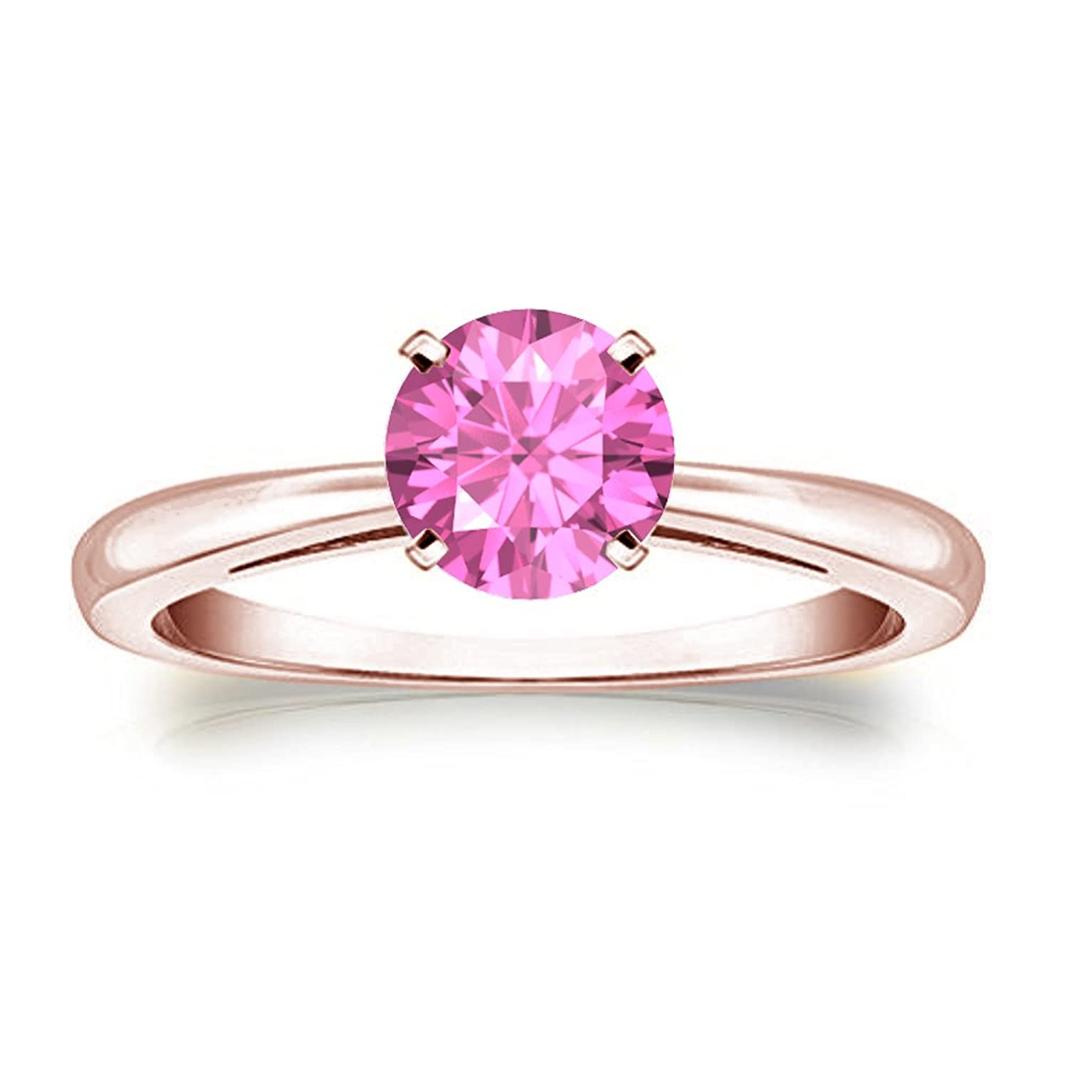Awesome 14K Rose Gold Plated 1.00 Ct Round Cut Created Pink Sapphire ...