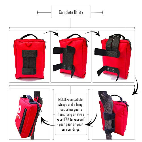Compact First Aid Kit – IFAK Medical Kit with Labeled Compartments, MOLLE & Survival Tools – Small First Aid Kit for Boat Car Camping Hiking Travel & Backpacking