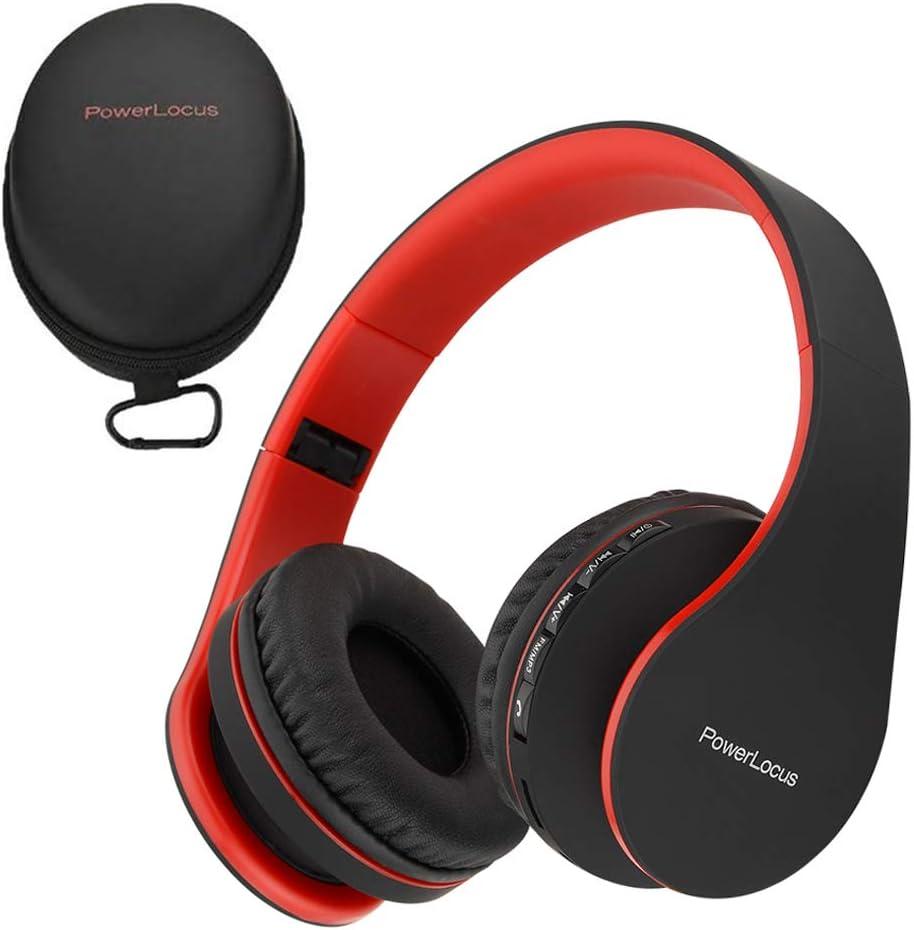 PowerLocus P1 – Auriculares Bluetooth inalambricos de Diadema Cascos Plegables, Casco Bluetooth con Sonido Estéreo con Conexión a Bluetooth Inalámbrico y Cable para Movil, PC, Tablet - Negro/Rojo
