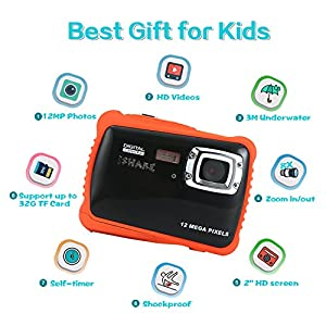 """Waterproof Digital Camera for Kids, ISHARE Kids Camera 12MP HD Underwater Action Camera Camcorder with 2.0"""" LCD, 8x Digital Zoom, Flash and Mic for Girls/Boys) by iShareDirect"""