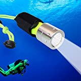 Aidisun 6000 k Expert Diving Flashlight Rechargeable Under Water Torch Snorkeling Flash Light with 3 Modes Include Battery and Charger for Professional Scuba Dive Underwater Camping Fishing