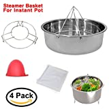 Instant Pot Accessories,Steamer Basket with Pot Rack, Vegetable & Egg Steam Ra, Fits Instapot 8 & 10 quarts and Pressure Cooker, Includes Mini Mitten and Steaming Cloth by GaoSheng
