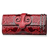 Naisibao Vintage Floral Artisan Leather Handmade Clutch Convertible Crossbody Designer Gift for Women