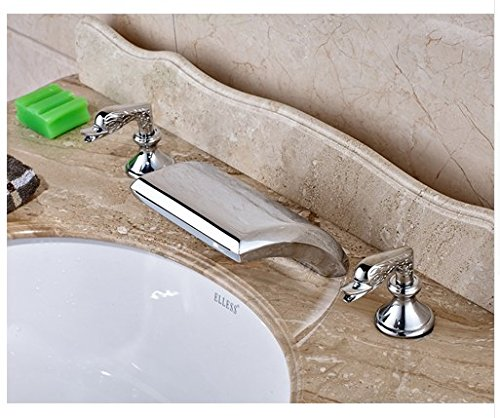 Gowe Chrome Finished Deck Mounted Waterfall Spout Bathroom Sink Faucet Widespread 3pcs Mixer Tap 0