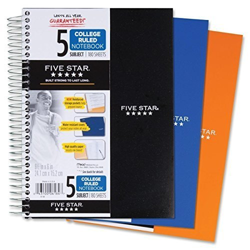 - Five Star Spiral Notebook, College Ruled, 5 Subject, 6 x 9.5 Inches, 180 Sheets, Assorted Colors (06184)Pack Of 2