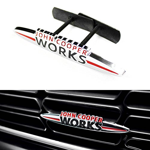 """One Piece 5.5""""x1"""" JCW Front Grille Badge For All MINI Cooper R50 R52 R55 R56 R57 R58 R59 R60 R61 F55 F56, etc"""