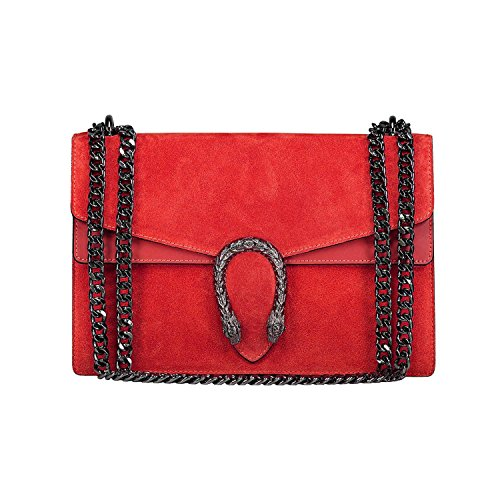 chain suede and Made Red smooth RACHEL in Baugette accessory metal snake leather bag clutch tiger flap Italy with and OZXZg6U