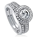 BERRICLE Rhodium Plated Sterling Silver Round Cut Cubic Zirconia CZ Halo Engagement Ring Set Size 7
