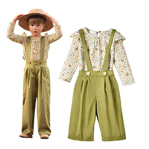 Unistylo 2PCS Girl Toddler Clothes Floral Suspenders Pant Set,Baby Girls Clothes Long Sleeve Shirt+Sleeve Overalls]()