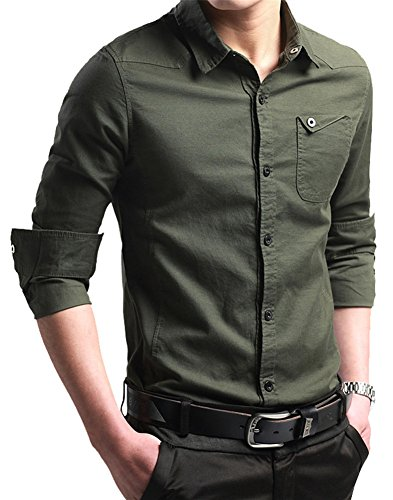 FRTCV Men's Button Down Shirt Causal Cotton Long Sleeve Dress Shirts Army Green Tag 4XL/US XL