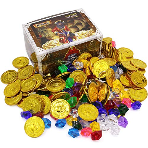 Pirate Treasure Chest Toys Pirate Fake Treasures Gold Coins Acrylic Diamond Gems Jewelry Rings Earrings Banknotes Gemstones Set for Play Favor Party Supplies Decorations Costume Stage Props -
