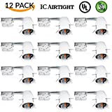 Sunco Lighting 12 PACK - 4'' inch Remodel LED Can Air Tight IC Housing LED Recessed Lighting- UL Listed and Title 24 Certified, WHITE, TP24