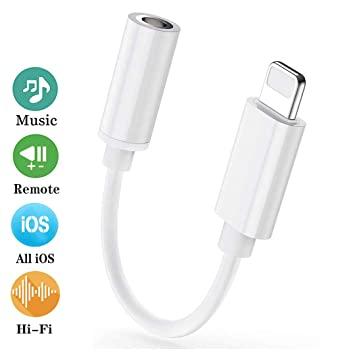 Adaptador Auriculares Audio Adaptador Jack de 3,5 mm para iPhone 7/7 Plus/ 8/8 Plus/X/XR/XS/XS MAX Dongle Aux Audio Estéreo Adaptador de Conector ...