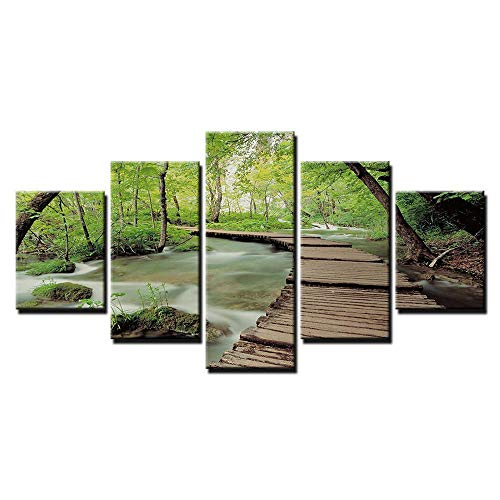 (Luziang Canvas Wall Art,Wall Art On Canvas Modern Decorative Painting Ink-Jet Home Restaurant Combo Drawing Core Oil Painting Green Forest Art Deco )