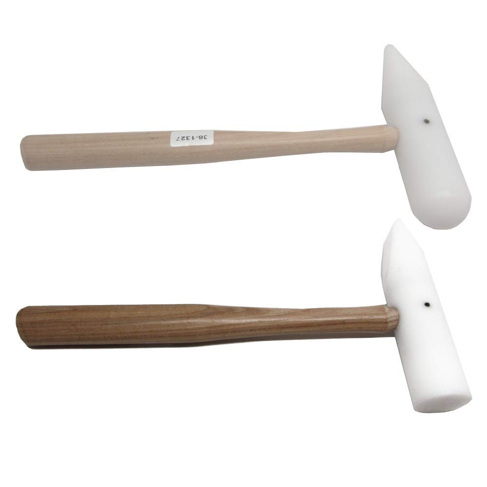 Flat /& Rounded Heads Jewelers Nylon Plastic Delrin Tipped Wedge Hammers Set of 2 Jewelry Making Mallets
