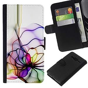 KLONGSHOP // Tirón de la caja Cartera de cuero con ranuras para tarjetas - Neon Color Lines - Samsung Galaxy Core Prime //