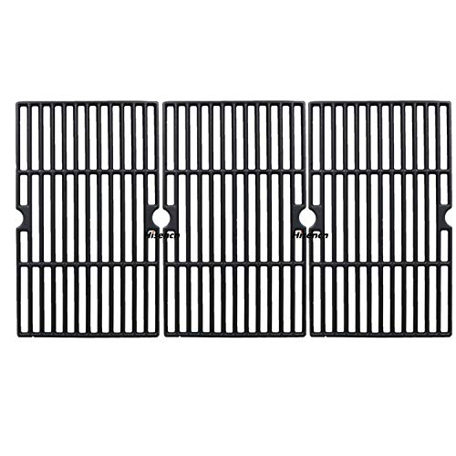 Hisencn Matte Cast Iron Cooking Grid Grates Replacement for Dynaglo DGF510SBP, Uniflame GBC1059WB, GBC1059WE-C, Backyard Grill BY12-084-029-98 and Other Gas Grill Models, 16 1/4 in