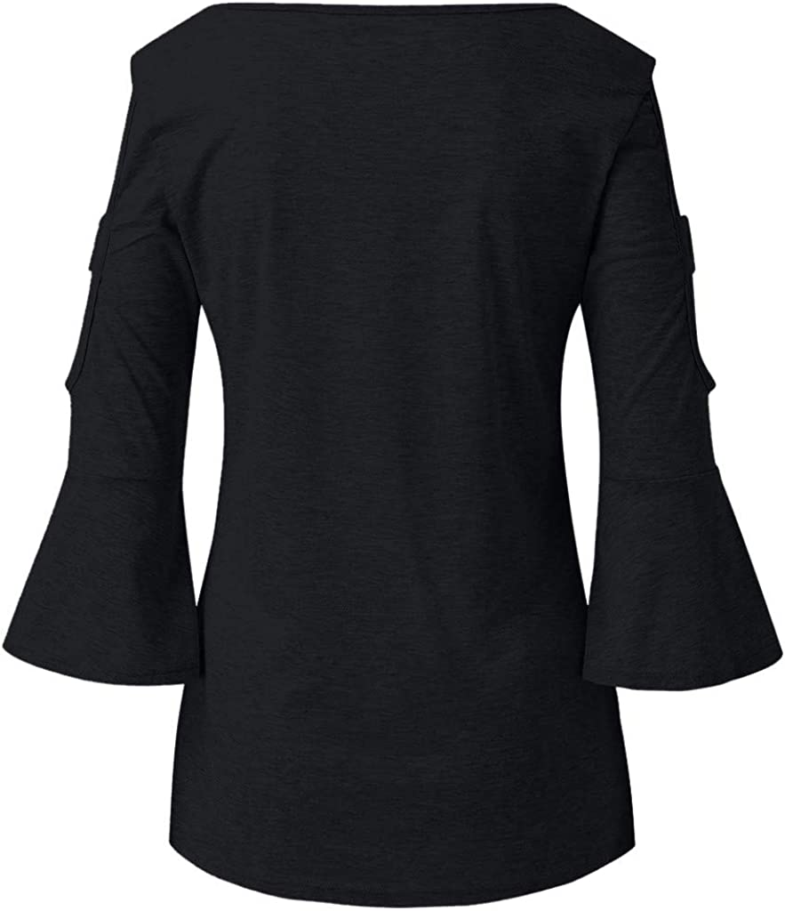 ChainSee Womens Spring Summer Tops 3//4 Sleeve Tee Cold Shoulder Cute Shirts