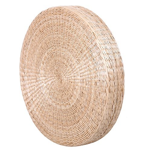 (Eshow Japanese Straw Cushion Tatami Floor Cushion Japanese Style Handcratfed Wicker Mat Futon Flat Meditation Cushion Zabuton Japanese Floor Pillow Eco-Friendly and Breathable)