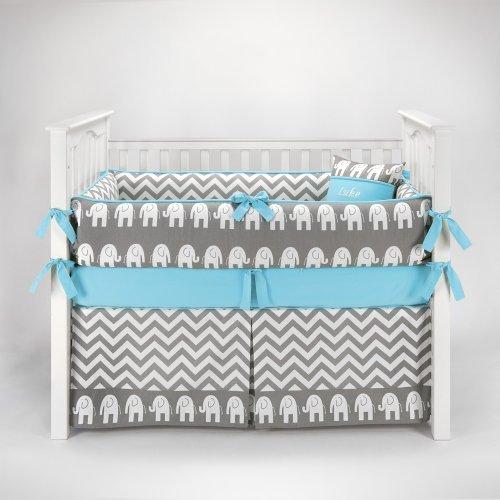 Elephant Chevron Zig Zag Gray & Blue Baby Bedding - 5pc Crib Set by Sofia Bedding