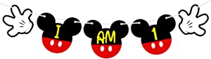 Mickey Mouse 1st Birthday Highchair Banner, I Am One Banner, Mickey Mouse First Birthday High Chair Bunting Garland, Mickey Mouse Birthday Party Supplies Decorations