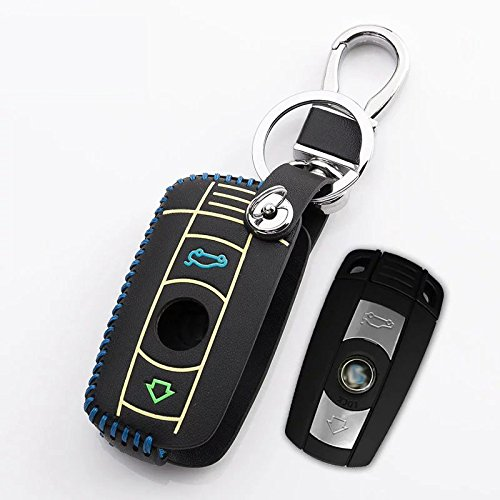 Hellohzdt Black-blue Car Key Leather Case Remote Holder F...