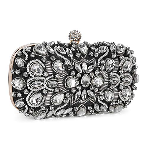 UBORSE Women Crystal Beaded Rhinestone Evening Clutch Bag Wedding Purse Bridal Prom Handbag Party Bag (Black)
