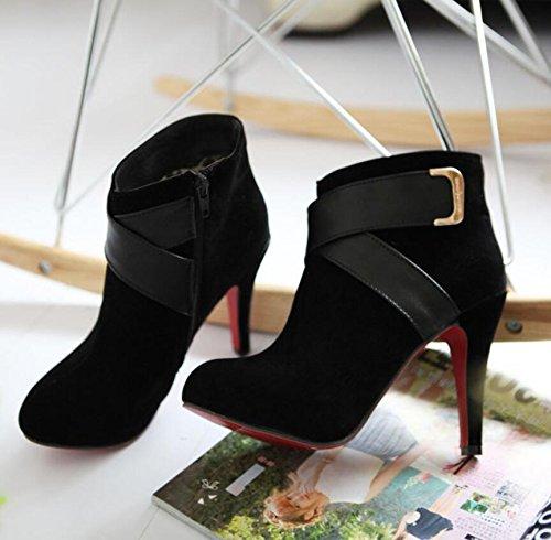 Ei&iLI Chaussures talons hauts cheville Bootie femme / a souligné Toe Boots Dress/Casual , black , 43