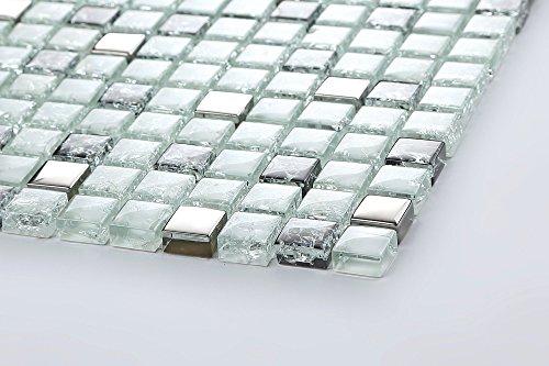 Glas Mosaik Fliesen Matte Weiß Schwarz Und Silber Gebrochene Und - Fliesen glasoptik