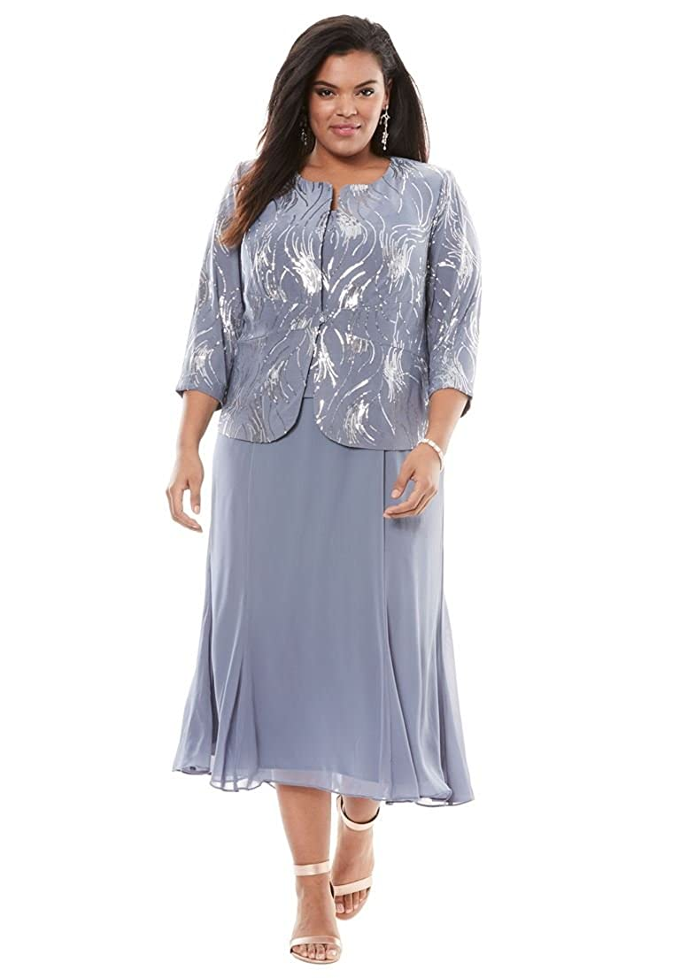 9f2443599858a4 A two-piece outfit finished in eye-catching sequins on the bodice and  jacket and a flowy chiffon skirt. Center front button on jacket Panel  detail skirt 46