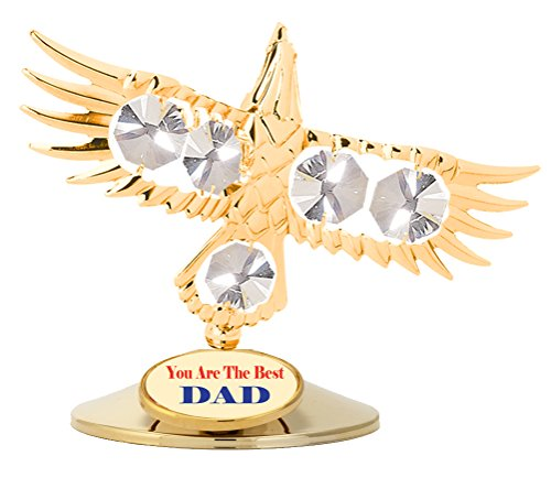 """""""Happy Father Day"""" - 24k Gold Plated Bald Eagle Free Standing - Clear - Swarovski Crystal Elements"""