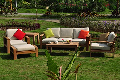 New Luxurious 6 Piece Teak Sofa Set - 3 Seater Sofa, 2 Lounge Chairs, 1 Ottoman, 1 Coffee Table And 1 End Table - Furniture only - Madras COLLECTION #WHSSMD Furniture Madera Collection