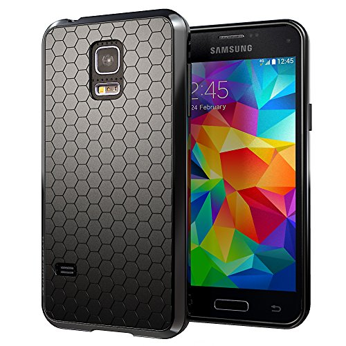 Hyperion Samsung Galaxy S5 MINI (SM-G800) HoneyComb Matte TPU Case / Cover (Fits Standard Size Battery) [2 Year No Hassle Warranty] (CASE ONLY. Does not include battery or phone) **Hyperion Retail Packaging** - BLACK (Samsung Mini Battery Case compare prices)