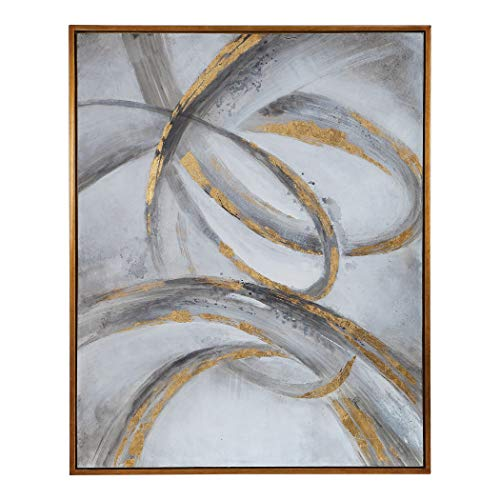 My Swanky Home Large Abstract Gray Gold Swirl Painting | Wall Art Twist Scroll Modern Metallic