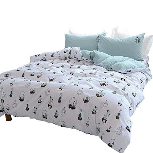 OTOB Kids Cotton Cactus Bedding Duvet Cover Sets Twin,Reversible Teen Bedding Sets with 2 Pillow Sham and 1 Duvet Cover for Girls Adults Woman White Green Soft 3 Piece Children Bed Set(Twin, Style 4) by OTOB