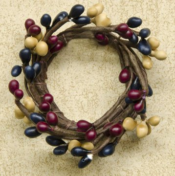 Colonial Mix Pip Ring Candle Accent Navy Burgundy Mustard Berries Country Primitive Floral Décor ()