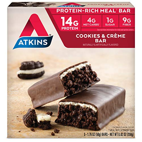 Atkins Protein-Rich Meal Bar, Cookies n' Crème, Keto Friendly, 5 Count -