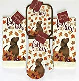 Nantucket Home Holiday Kitchen Towel Set: Fall is in The Air Dog with Colorful Leaves Including 2 Towels 1 Pot Holder and 1 Oven Mitt