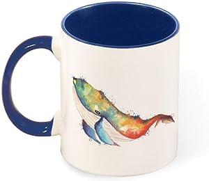 DKISEE Whale Watercolor Drawing Up Two Tone Ceramic Mug Cute Animal Mug 11 Ounce Colored Mug Tea Cup,dark blue