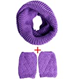 Womens Winter Outfits Set - Thick Knitted Winter Warm Infinity Scarf & Short Women Crochet Boot Cuffs Winter Cable Knit Leg Warmers (OneSize, Purple)