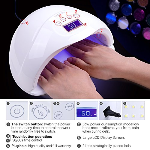 Nail-Dryer-48W-LED-UV-Nail-Curing-Lamp-Light-for-Fingernail-Toenail-Gel-Nail-Polish-with-Sensor-and-Timer-Setting-by-SEXY-MIX